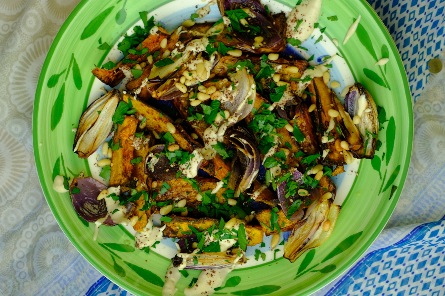 Roasted Butternut and Red Onion with Tahini and Za'atar