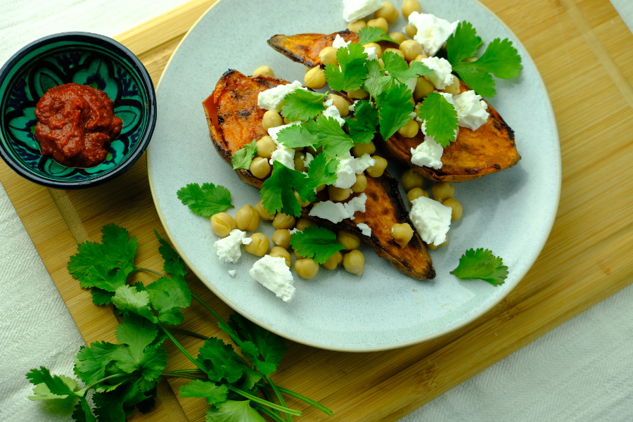 Roasted Sweet Potato with Chickpeas and Goat Cheese