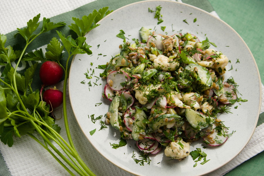 Herby Rye Berry Salad with Yogurt Dressing