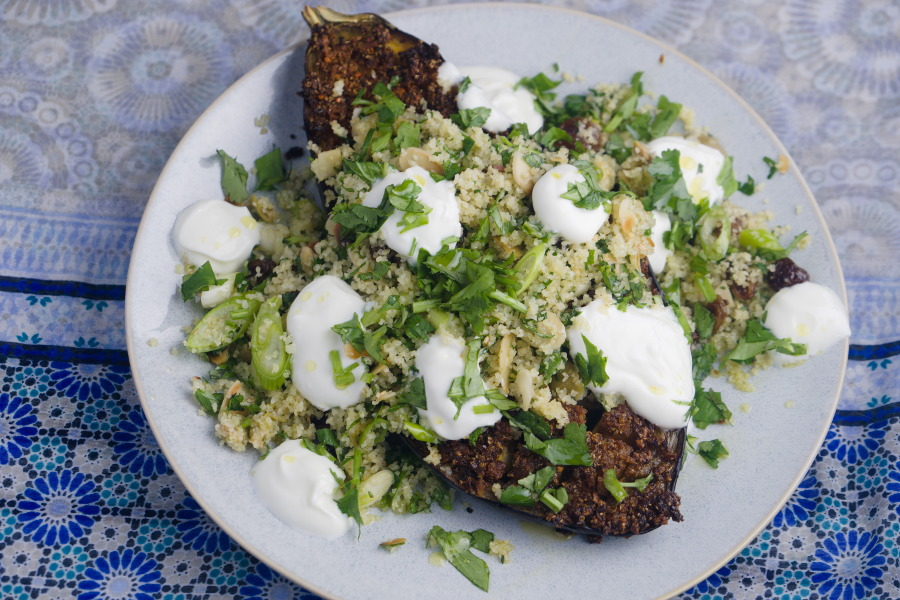 Ottolenghi's Chermoula Eggplant with Bulgar and Yoghurt
