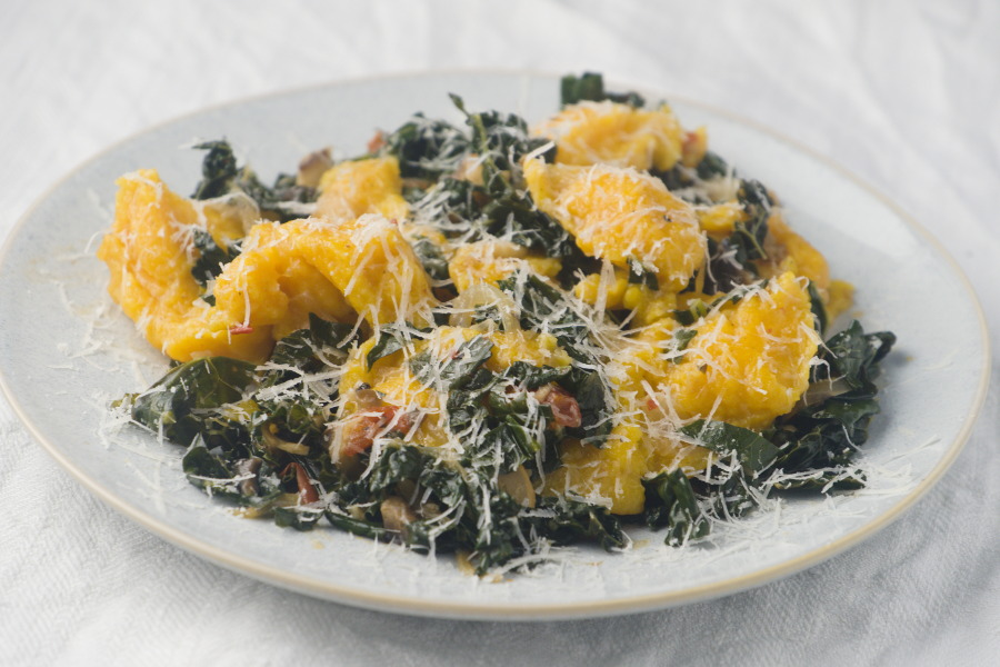 Scruffy Pumpkin Dumplings with Cavolo Nero